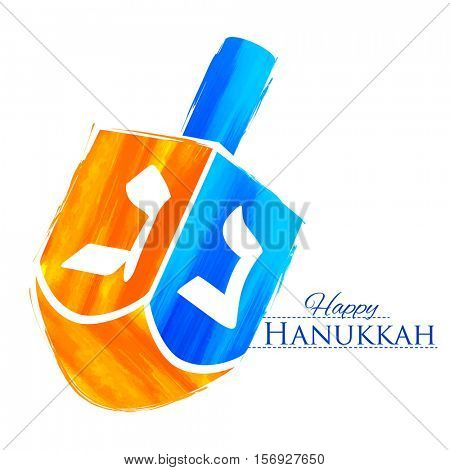 illustration of Happy Hanukkah, Jewish holiday background with dreidel