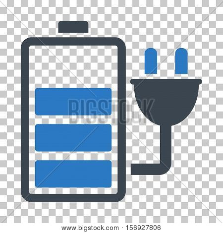 Charge Battery EPS vector icon. Illustration style is flat iconic bicolor smooth blue symbol.