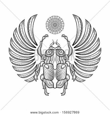 Hand drawn Vector illustration egyptian scarab beetle with wings. Zentangle Egyptian icons. Doodle bug. Magic, spirituality Egyptian sacred bug, mystery beetle, mythology scarab as symbol of the Sun