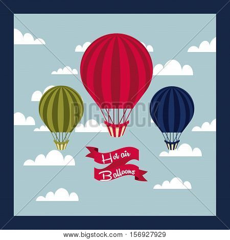 air balloon vehicle over sky background. colorful design. vector illustration