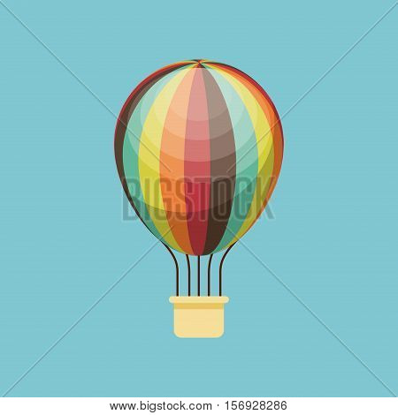 air balloon vehicle over blue background. colorful design. vector illustration