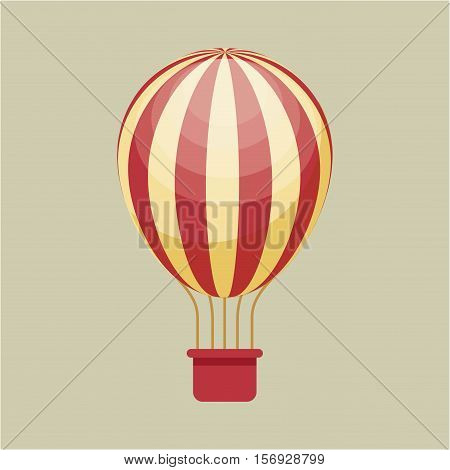 colorful striped air balloon vehicle. vector illustration