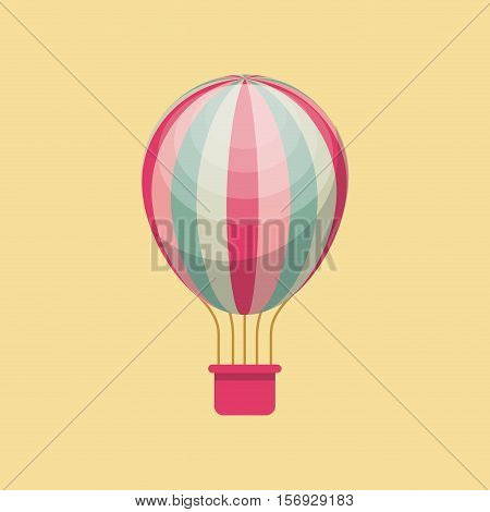 air balloon vehicle over yellow background. colorful design. vector illustration