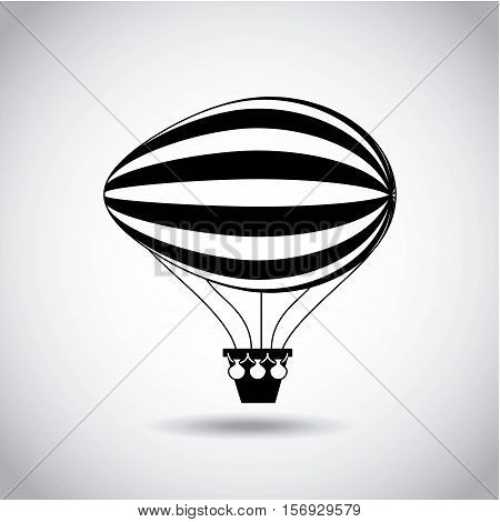 silhouette of air balloon vehicle. white and black design. vector illustration