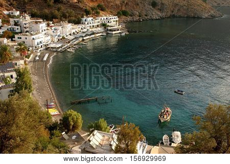 view of the bay of loutro on the island crete