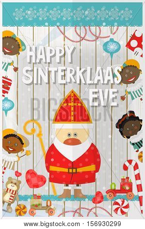 Cartoon Sinterklaas or Saint Nicholas - Cartoon Dutch Santa Claus and Pete on White Wooden Background. Holiday Frame. Christmas in Holland.Vector Illustration.