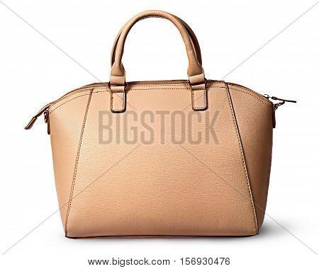 Elegant women beige bag rear view isolated on white background