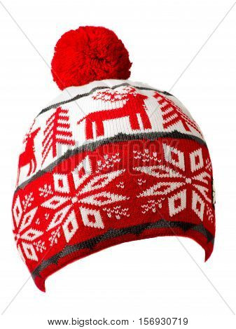 Hat Isolated On White Background .knitted Hat . Hat With Pompon .  Red White Hat