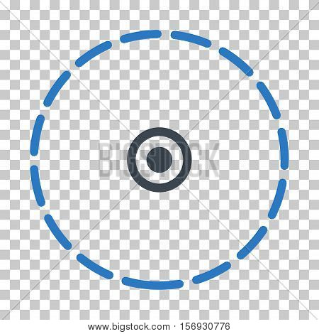 Round Area EPS vector pictograph. Illustration style is flat iconic bicolor smooth blue symbol.