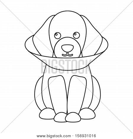Sick dog icon in outline style isolated on white background. Dog symbol vector illustration.