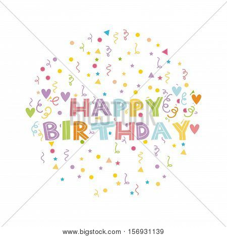 happy birthday card with serpentine over white background. colorful design. vector illustration