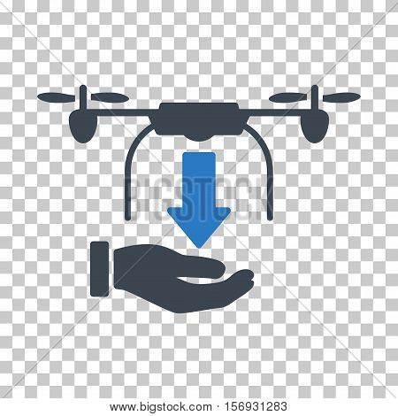 Unload Drone Hand EPS vector pictogram. Illustration style is flat iconic bicolor smooth blue symbol.