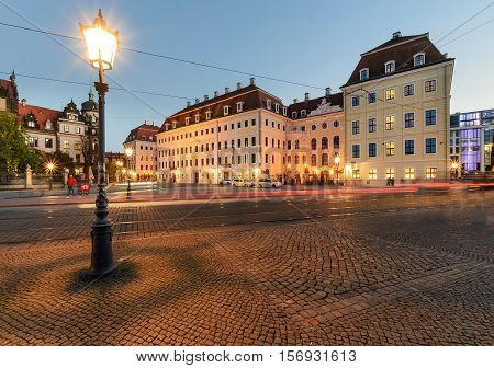 Lantern in old town of Dresden in the evening. Germany Europe.
