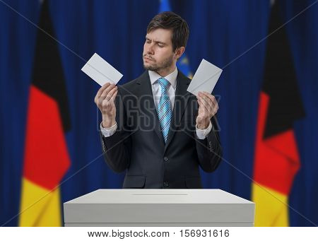 Election In Germany. Undecided Voter Is Making Decision.