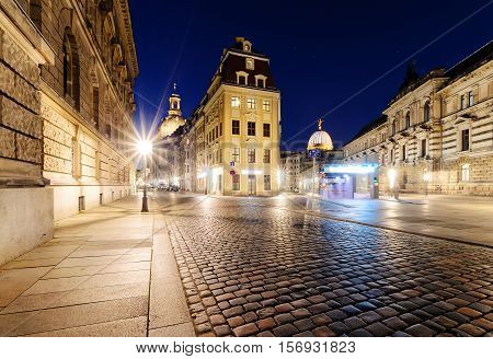 Architecture in old town of Dresden in the evening. Germany. Europe.