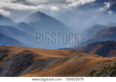 mountain landscape in Parang Mountains in Romania