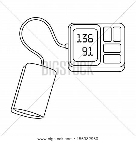 Tonometer icon in outline style isolated on white background. Medicine and hospital symbol vector illustration.