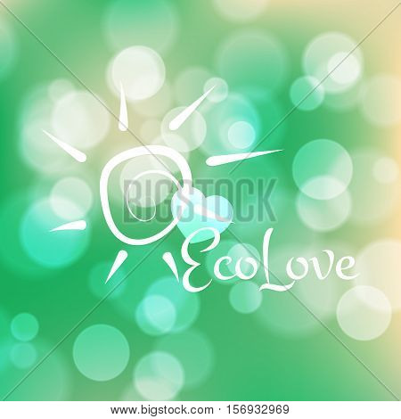 Stock blurred texture with bokeh effect and sun symbol. Eco-Style