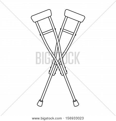 Crutches icon in outline style isolated on white background. Medicine and hospital symbol vector illustration.