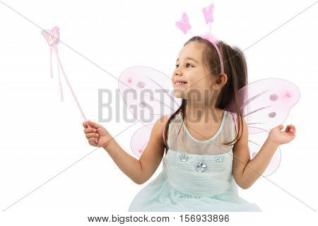 Little Butterfly Fairy Is practising Magic Isolated On White Background