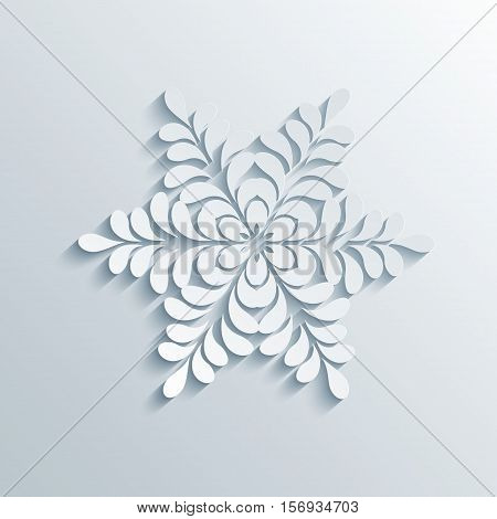Winter Holiday 3D Snowflake With Shadows On A Gray Background