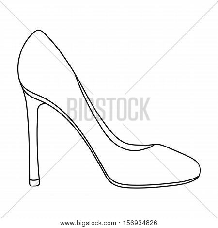 Stiletto icon in outline style isolated on white background. Shoes symbol vector illustration.
