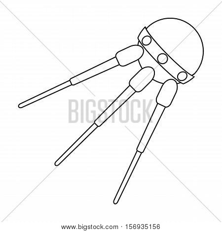 Sputnik One icon in outline style isolated on white background. Space symbol vector illustration.