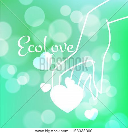Stock blurred texture with bokeh effect and stylized hand in a graceful gesture and a shining heart. Eco-Style