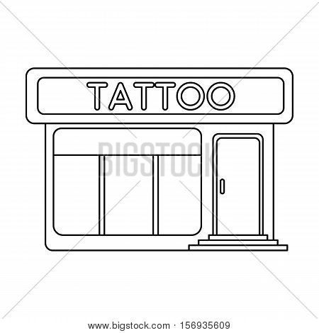 Tattoo salon building parlor icon in outline style isolated on white background. Tattoo symbol vector illustration.