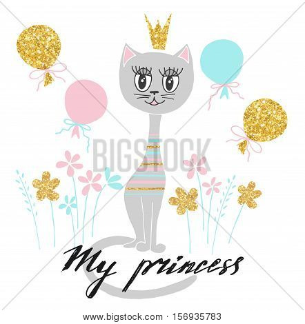 Cute kitty princess with golden crown. Vector illustration