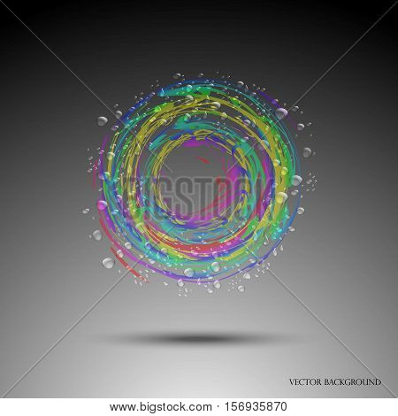 Varicoloured water circle. Whirlpool, realistic water droplets Vector illustration