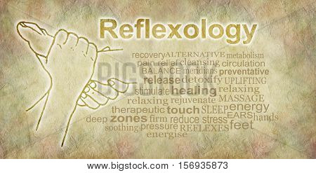 Rustic Reflexology Word Cloud Banner - outline illustration of a pair of hands holding a foot beside a reflexology word cloud on a sand colored parchment stone effect background
