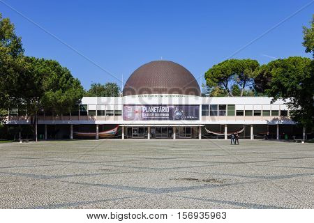 Lisbon, Portugal. October 31, 2016: Calouste Gulbenkian Planetarium commemorating the 50th anniversary. Belem District, Lisbon, Portugal.