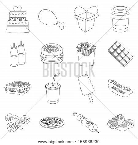 Fast food set icons in outline style. Big collection of fast food vector symbol stock