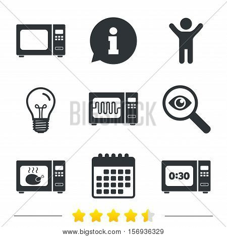 Microwave oven icons. Cook in electric stove symbols. Grill chicken with timer signs. Information, light bulb and calendar icons. Investigate magnifier. Vector