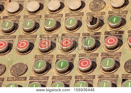 Control panel at the sawmill detail industry theme.