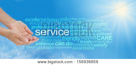 Offering You Service Word Cloud - female hands in cupped offering gesture with the word SERVICE surrounded by a relevant gold colored word cloud on blue sky and sun burst background