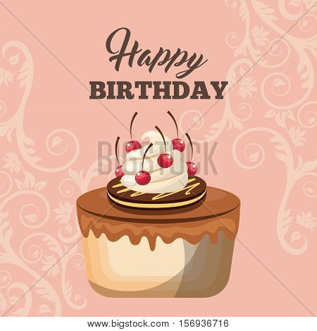 happy birthday card with piece of cake icon. colorful design. vector illustration