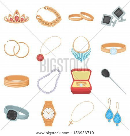 Jewelry and accessories set icons in cartoon style. Big collection of jewelry and accessories vector symbol stock