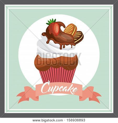 sweet cupcake dessert icon. pastry colorful design. vector illustration