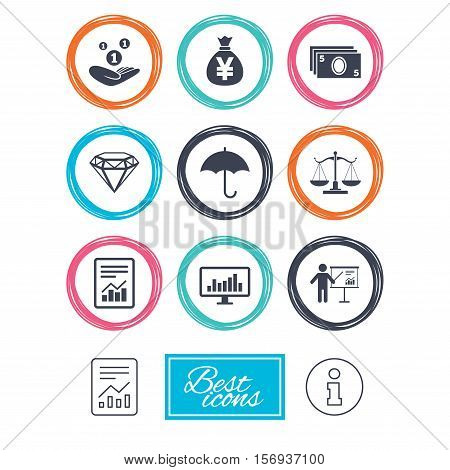 Money, cash and finance icons. Money savings, justice scales and report signs. Presentation, analysis and umbrella symbols. Report document, information icons. Vector