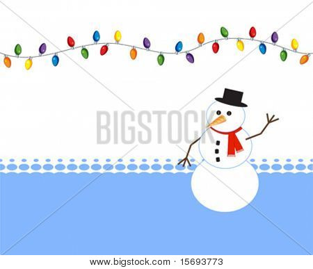 Happy snowman with holiday light bulbs