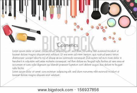 Beauty cosmetics Makeup with cosmetic tools. Colorful cosmetics background, brushes and other essentials