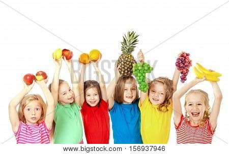 Group of happy children with fruits isolated on white