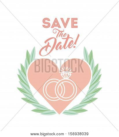 save the date card with heart and wedding rings over white background. colorful design. vector illustration