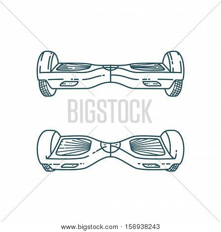 Vector Hover boards in linear style, Smart electric skateboard isolated on white background