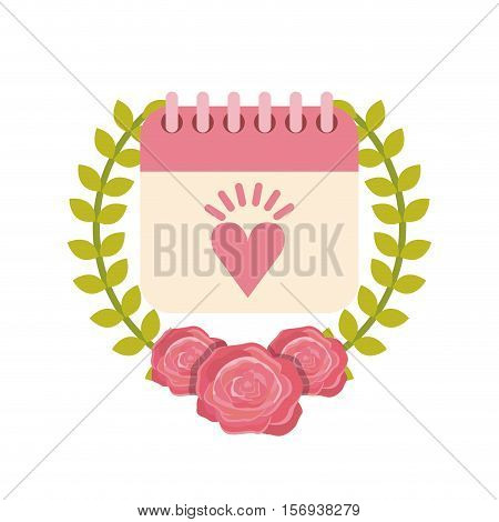 calendar with decorative flowers wreath over white background. save the date design. vector illustration