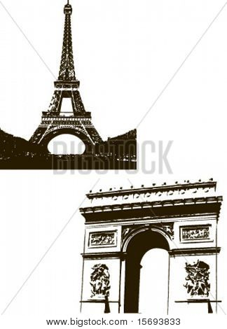 Eiffel Tower and the Arc du Triopmhe in Paris, France