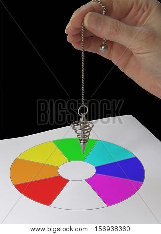 Radionics practitioner with Color Dowsing chart - female hand holding a spiral dowsing pendulum over a color filled circular sectioned dowsing chart on a black background
