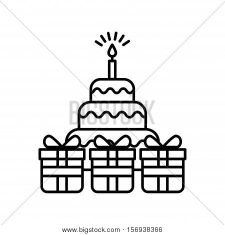 birthday cake with gift boxes over white background. vector illustration